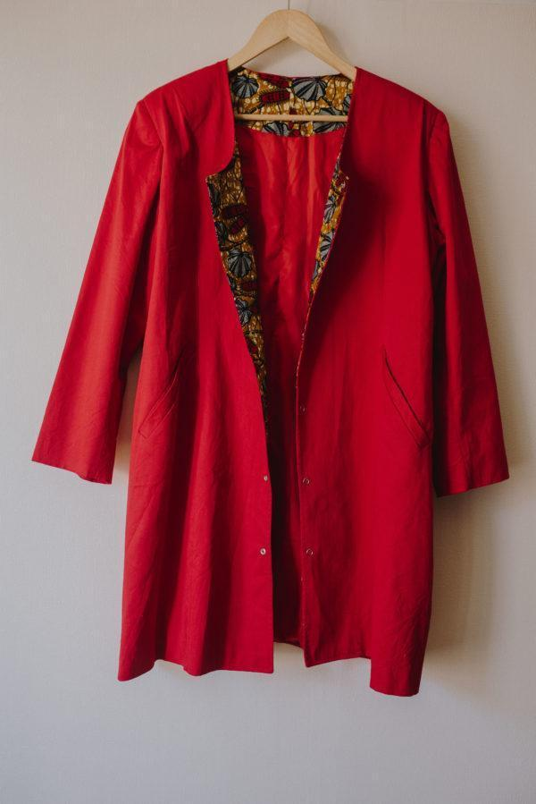 veste longue rouge