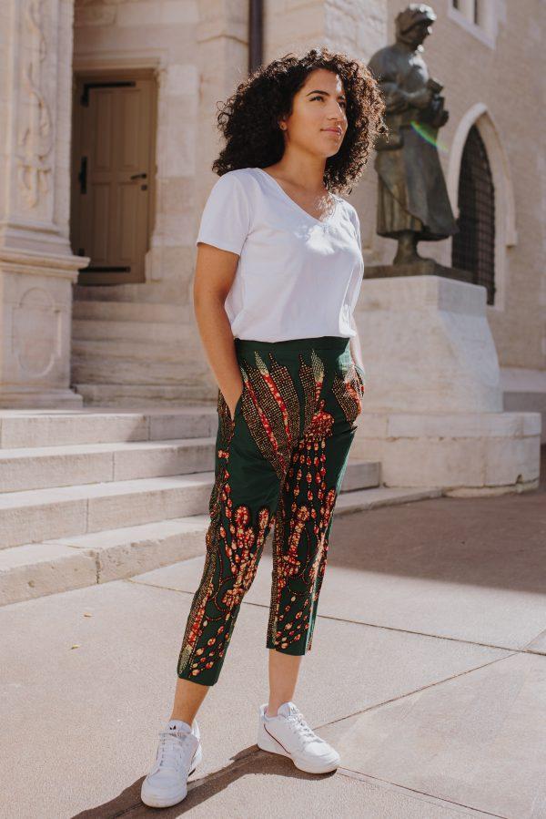 Pantacourt femme en Wax pour mode africain - Styliste a Dijon