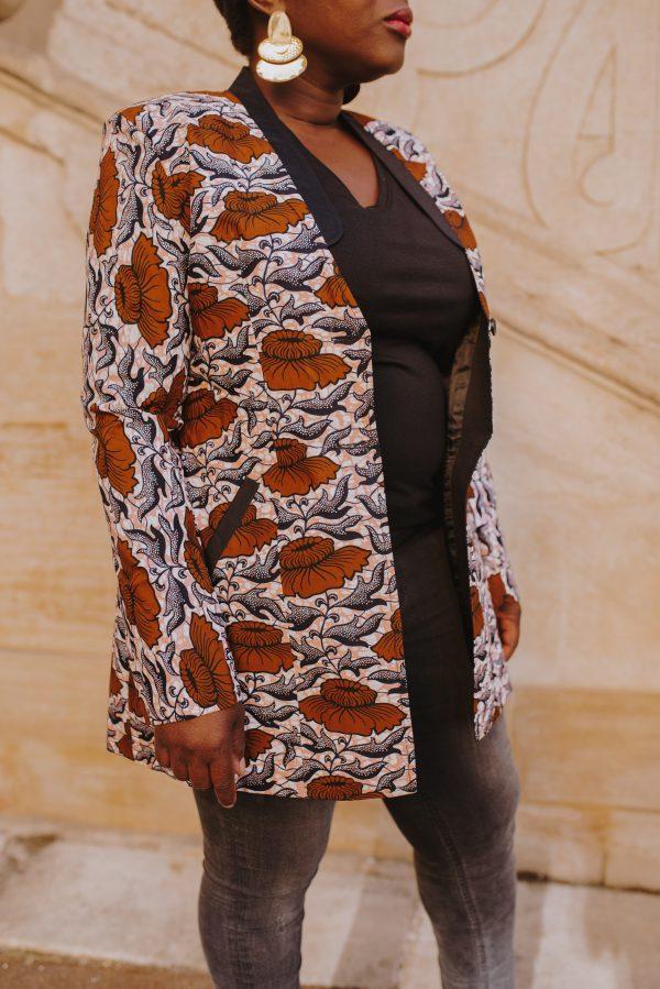 veste longue marron fleuri