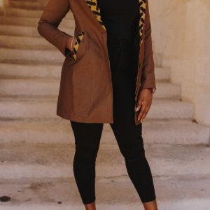veste longue customisée en wax