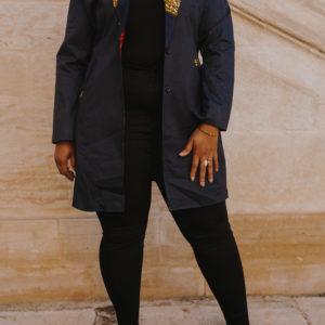 veste bleu customisée