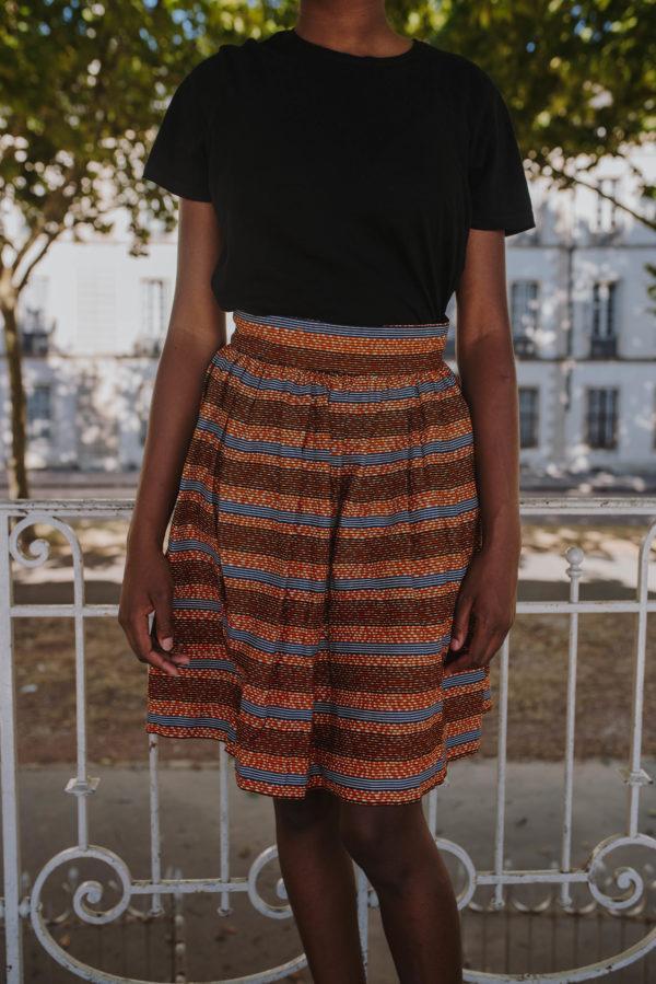 jupe courte marron en wax