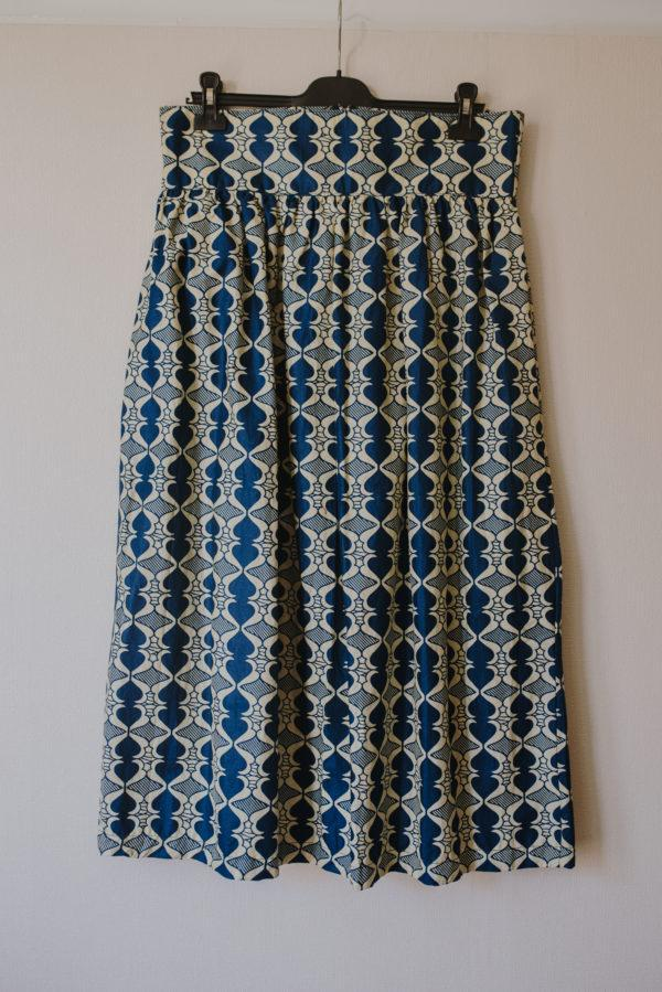 Jupe longue bleue Wax femme