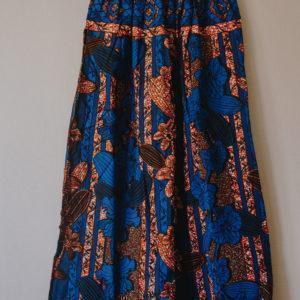 Jupe bleue longue imprimé Wax