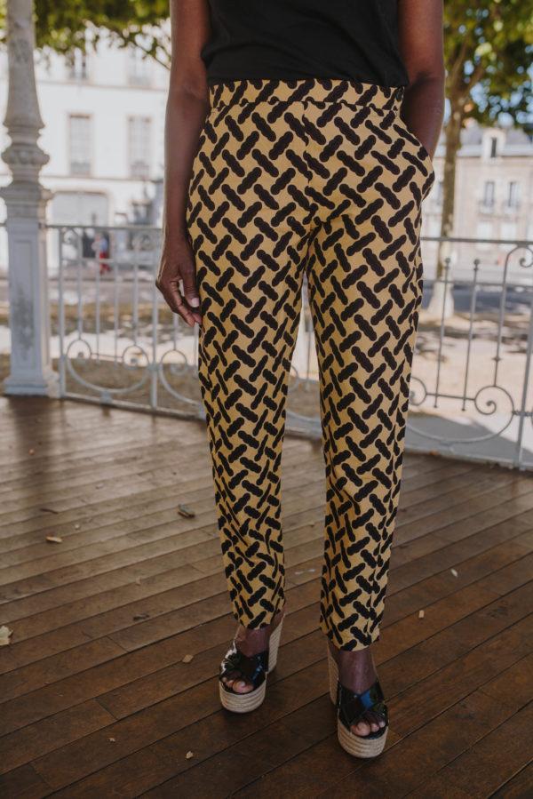 pantalon marron en wax