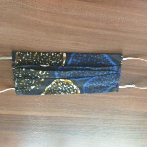 Masques en tissu coloré bleu or