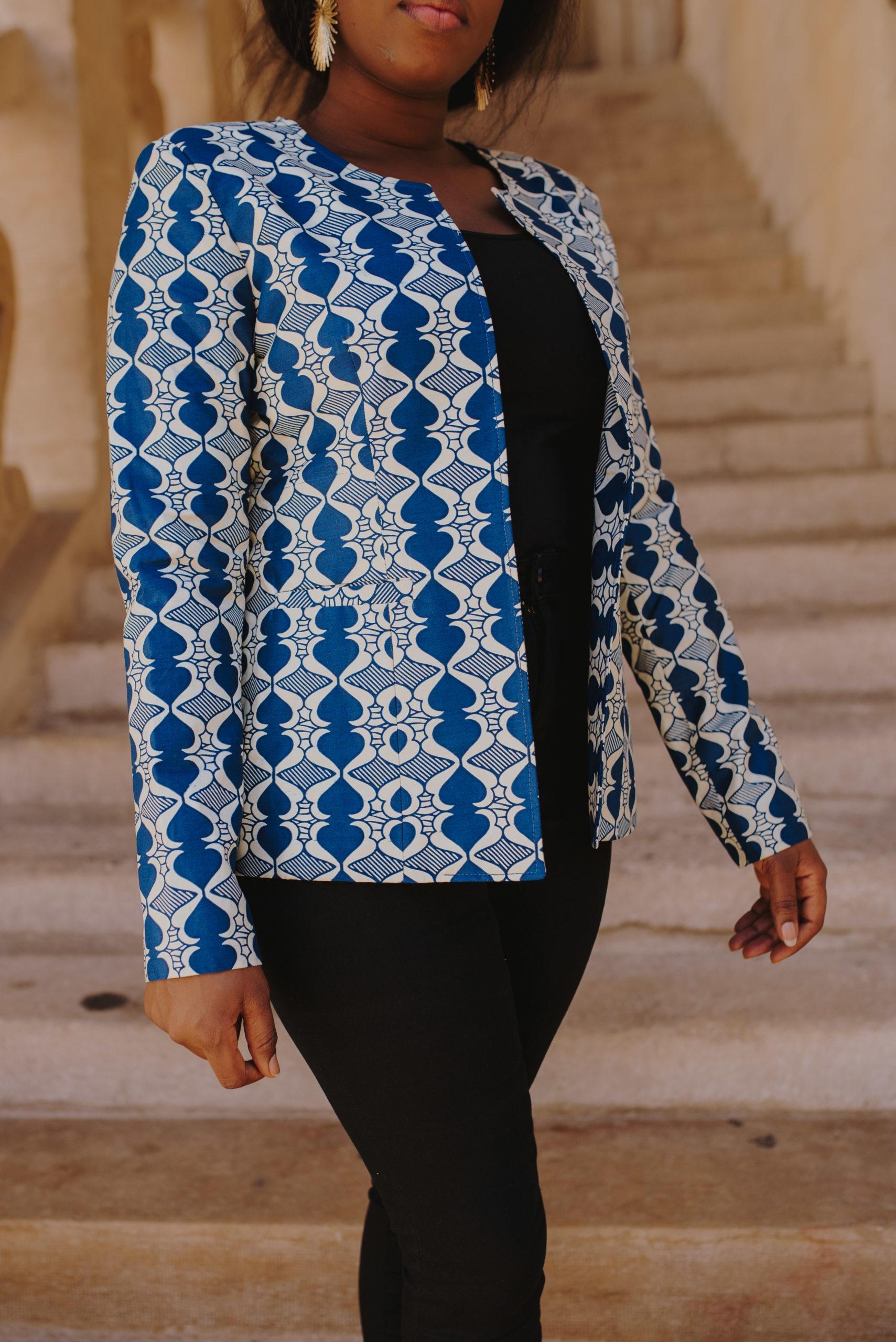 Veste courte pour femme en tissu Wax original et unique en ligne