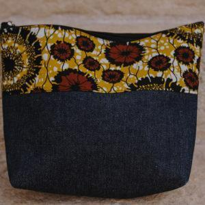 Pochette en denim et en wax n°2