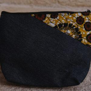 Pochette en denim et en wax n° 1