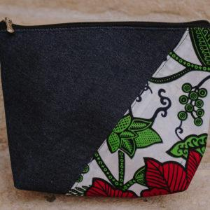 Pochette en denim et en wax n°3