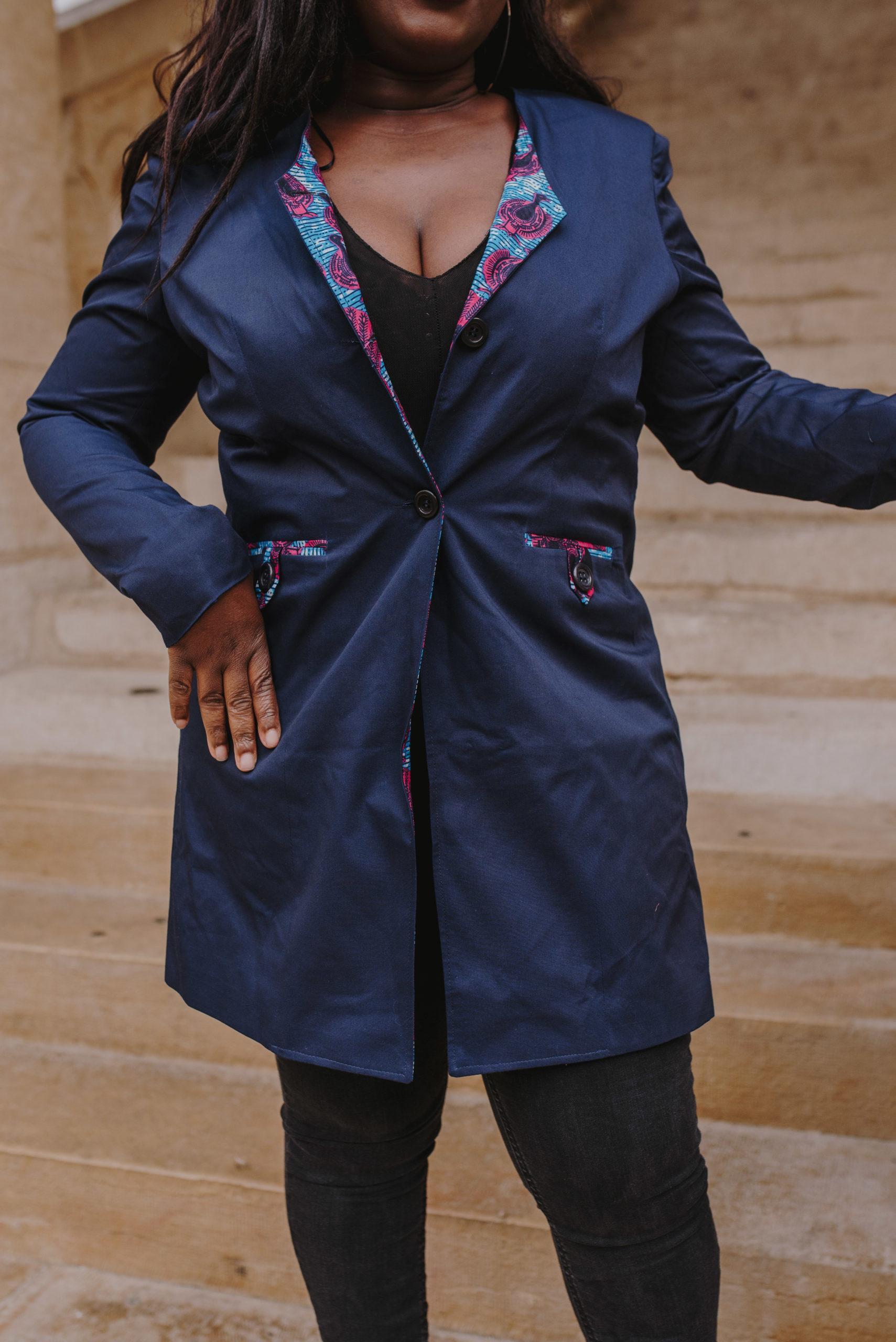 Veste longue bleue wax femme
