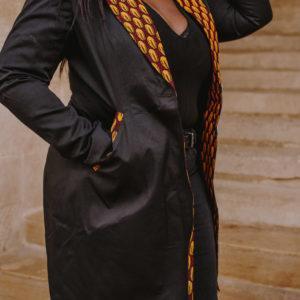 veste longue noire haute couture