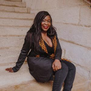 veste Veste longue noire Wax couture