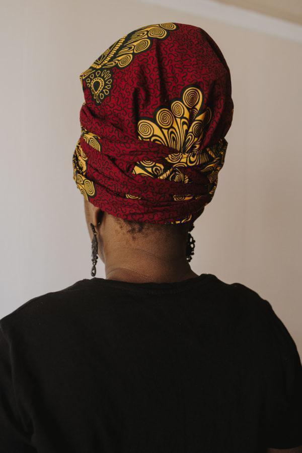 foulards en satin et wax bordeaux