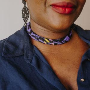 collier violet femme Wax