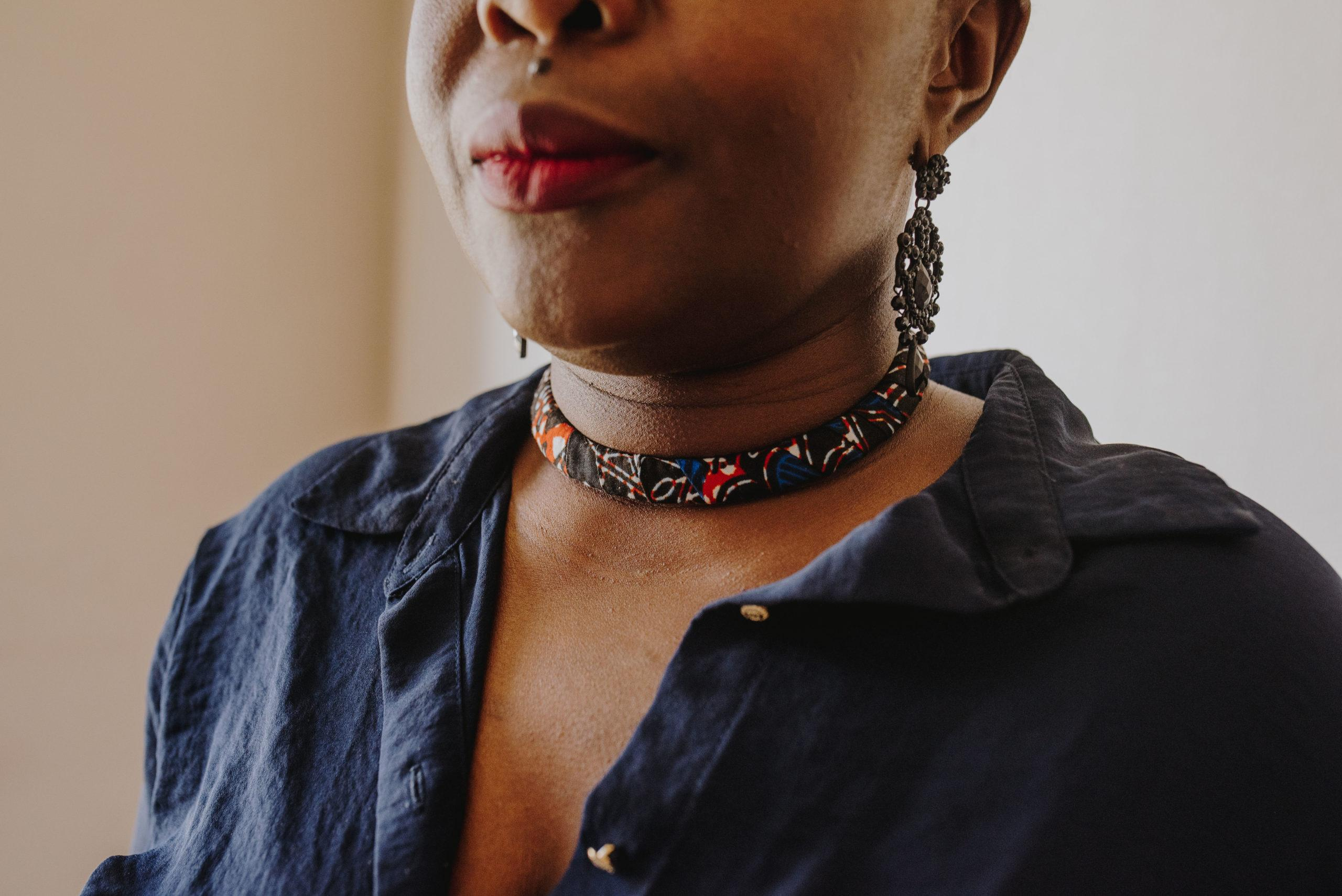 collier coloré femme en Wax