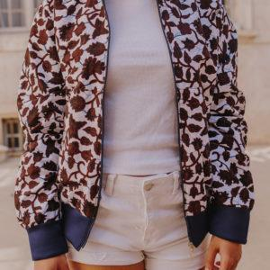 bomber floral blanc wax